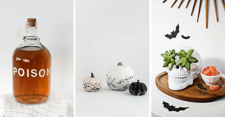 Addobbi semplici per Halloween, zucche dipinte con vernice, bottiglia con scritta