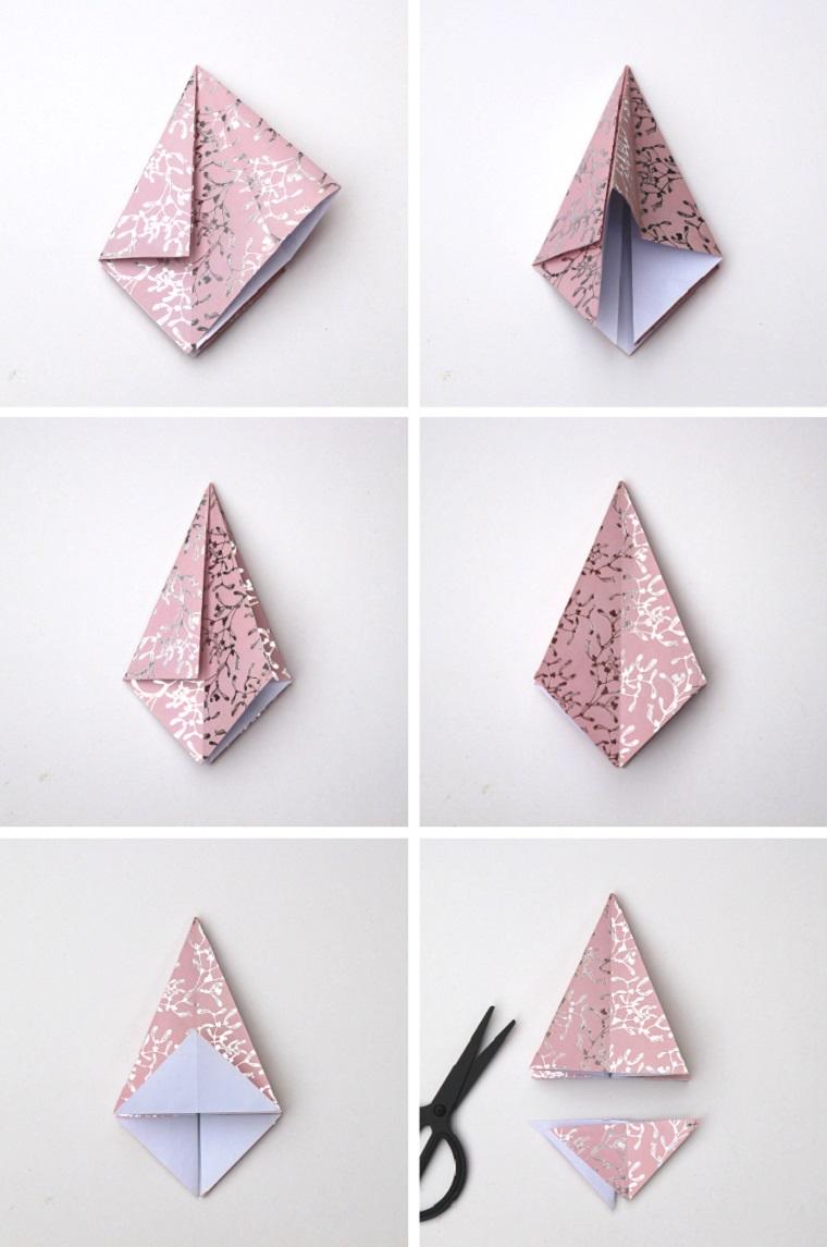 Carta da regalo rosa, carta per origami, alberello di carta tutorial, albero di natale stilizzato