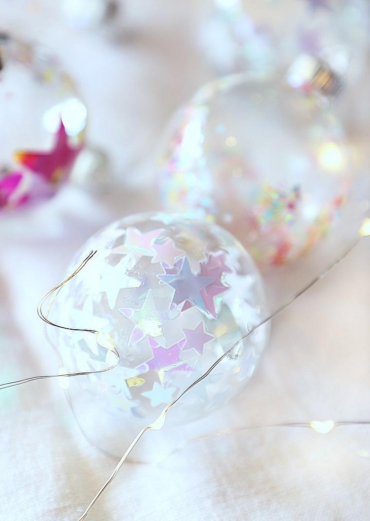 Palline di Natale fai da te, pallina con stelle, filo di ferro per decorazioni, pallina da appendere