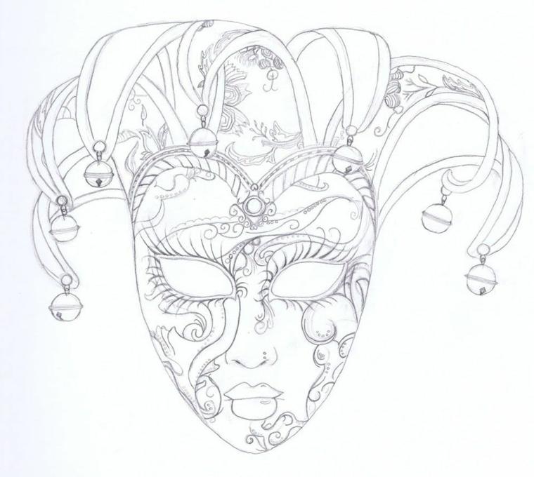 Disegno a matita di una maschera, disegni maschere di carnevale, bautta con occhi da ritagliare