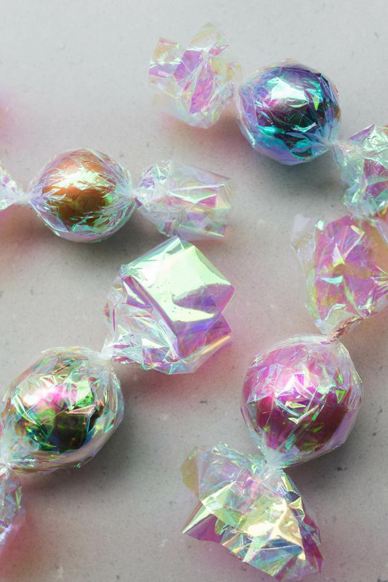 Palline di Natale fai da te, palline in cellophane, palline a forma di caramelle