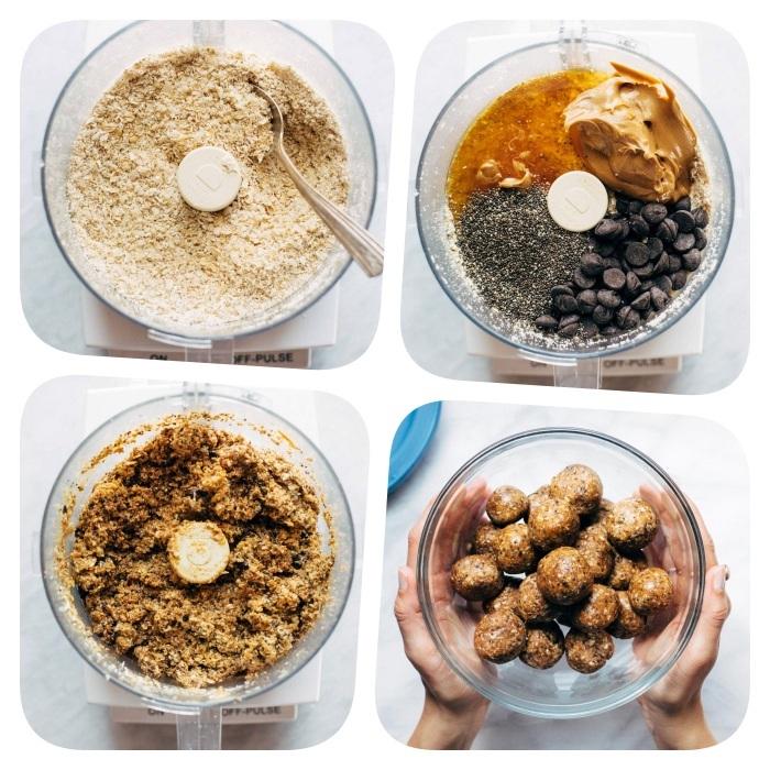 Ricetta per biscotti, frullatore con farina d'avena, semi di chia, burro di arachidi, palline energetiche