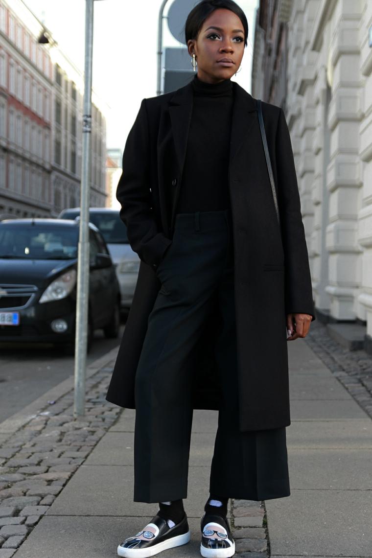 Pantalone nero palazzo, cappotto lungo donna, outfit inverno 2019