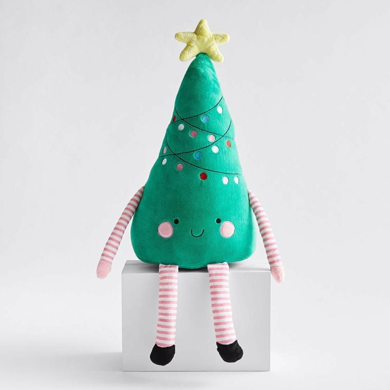 Decori natalizi, peluche a forma di albero, peluche con disegno ghirlande