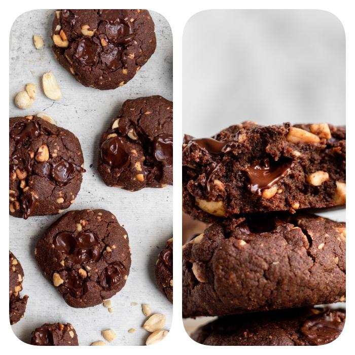 Biscotti fatti in casa ricetta, cookies con arachidi, ripieno biscotto alla cioccolata, ripieno liquido biscotto