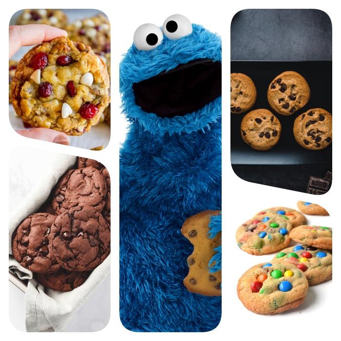 Come fare i biscotti in casa, giocattolo peluche Elmo, biscotti al cioccolato, gocce di cioccolato