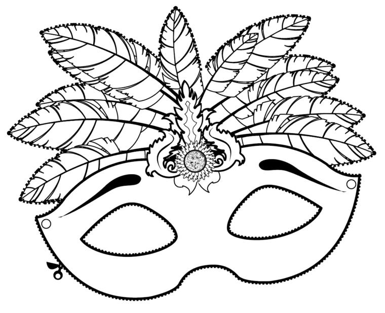Maschera con foglie, disegno da ritagliare, disegno da colorare, lavoretti carnevale con maschera