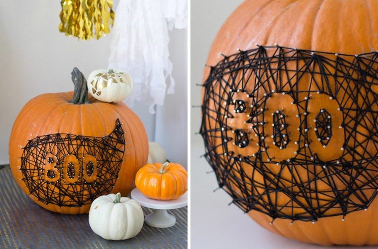 Zucca decorata con fili neri, addobbi fai da te per Halloween, scritta Boo