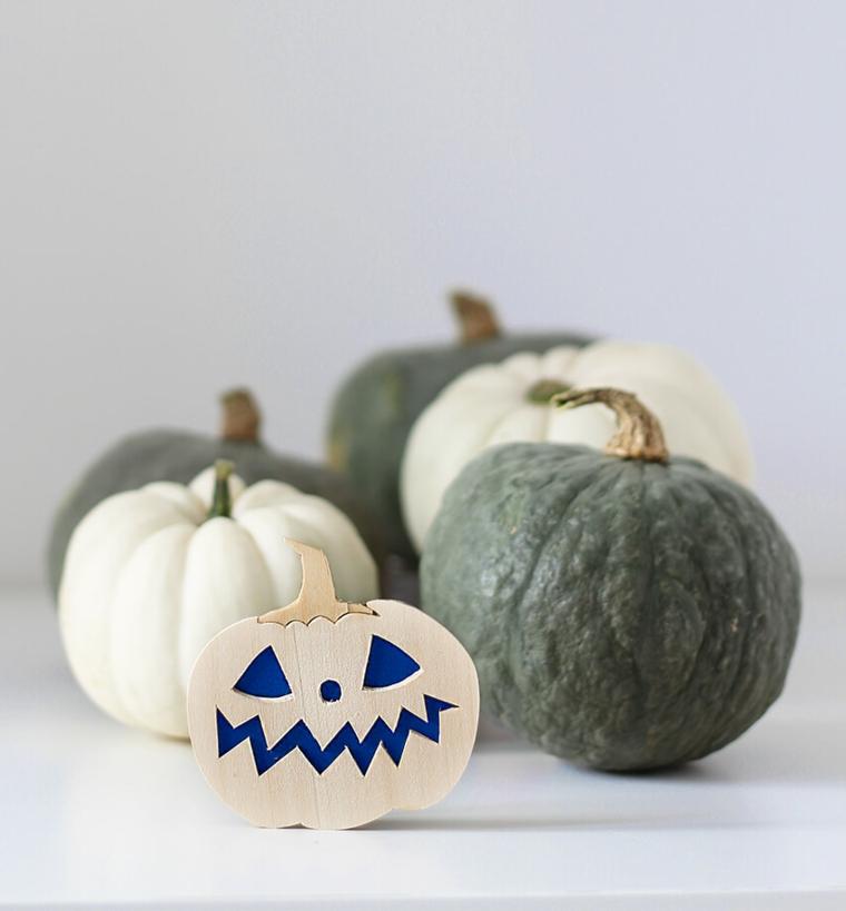 Zucche per Halloween, spilla di legno, spilla forma di una zucca, decorazioni fai da te