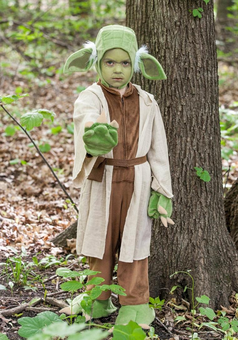 Travestimento Star Wars, bimbo con trucco verde, trucco semplice halloween