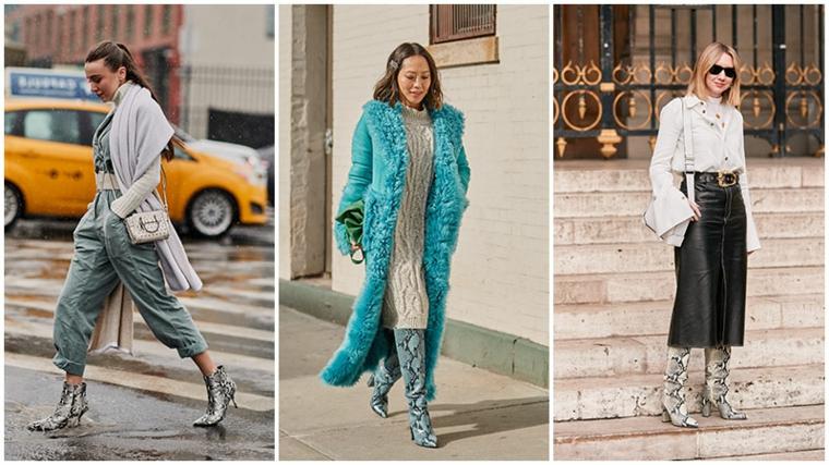 Collage di tre foto, donne con vestiti invernali, gonna tubino in pelle, cappotto verde tiffany