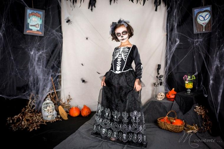 Trucco scheletro Halloween, costume bimba scheletro, decorazioni per Halloween