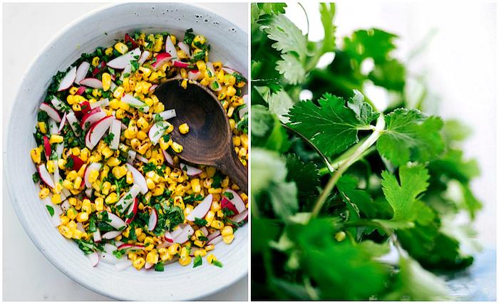 Ciotola con mais e ravanelli, foglie di prezzemolo, come si preparano le tortillas messicane