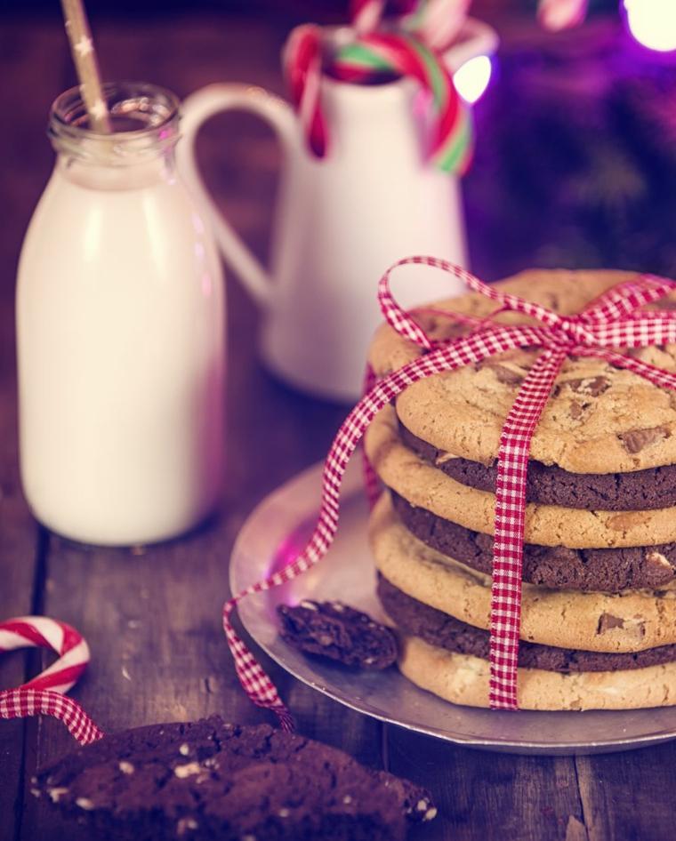 Bottiglia con latte, biscotti al cioccolato, decorazione tavola di Natale