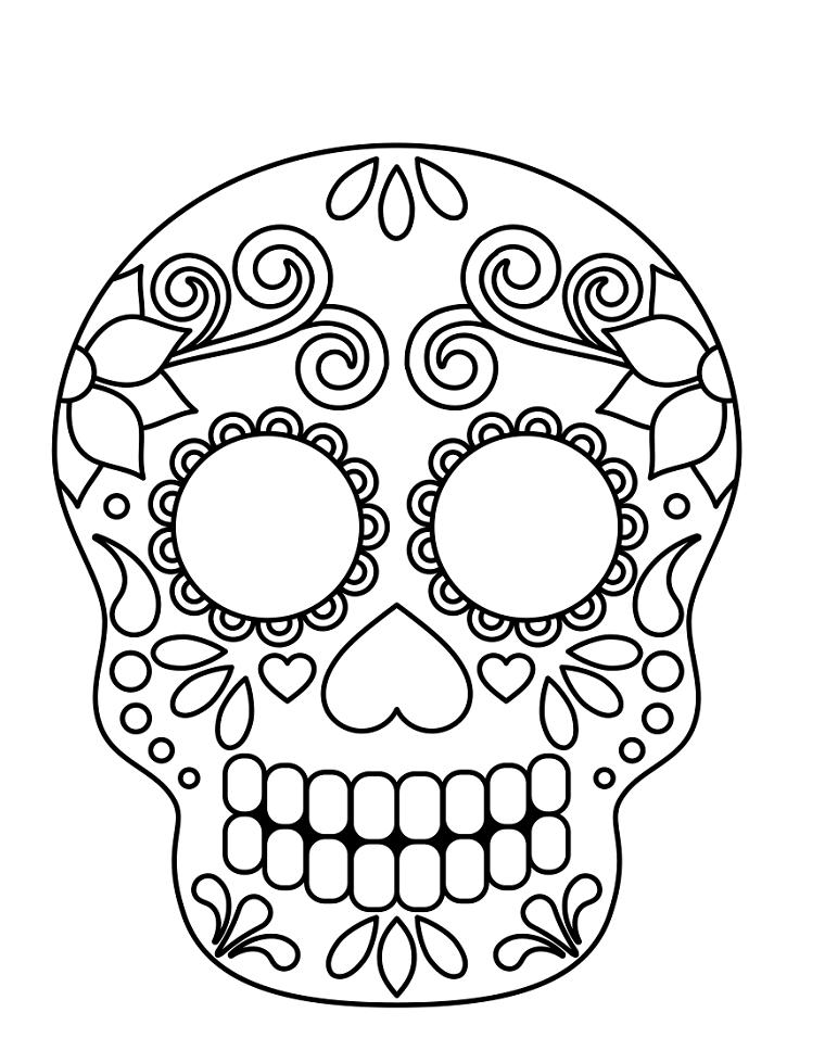 Immagini maschere di carnevale, disegno teschio sugar skull, disegno con ornamenti da colorare