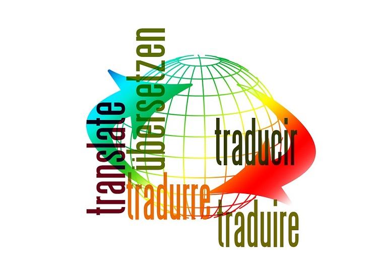 Globo con linee colorate, la parola translate, parole in lingua straniera