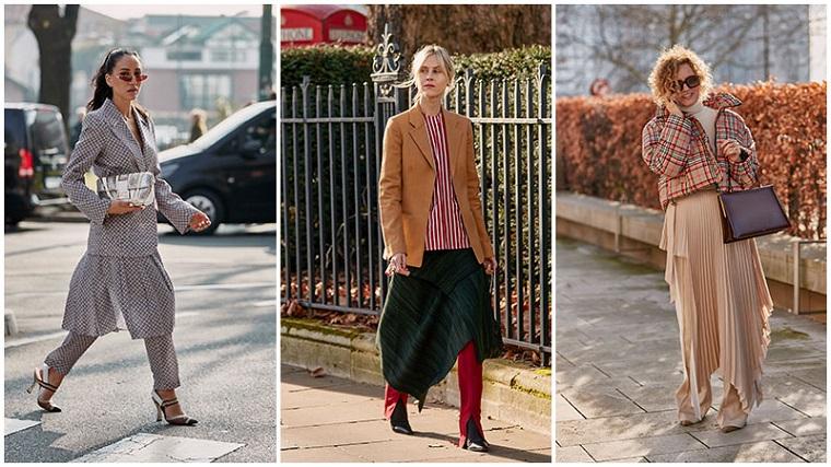 Tre donne con le gonne, moda autunno inverno 2019, abbigliamento con cappotto