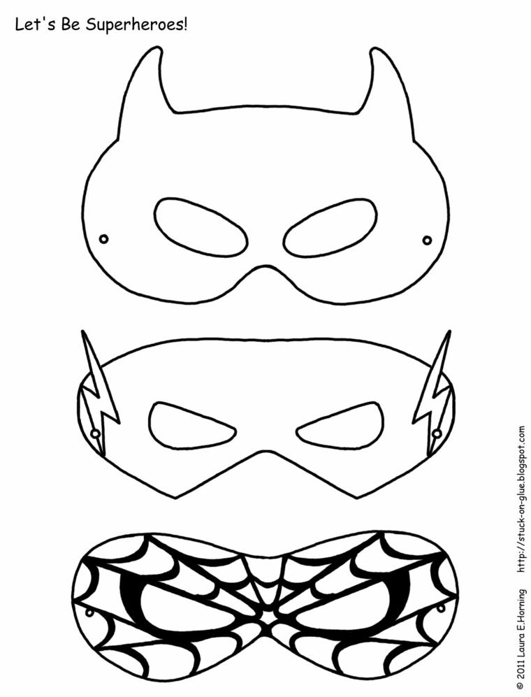Tre maschere per bambini, travestimenti bimbo carnevale, disegno da colorare