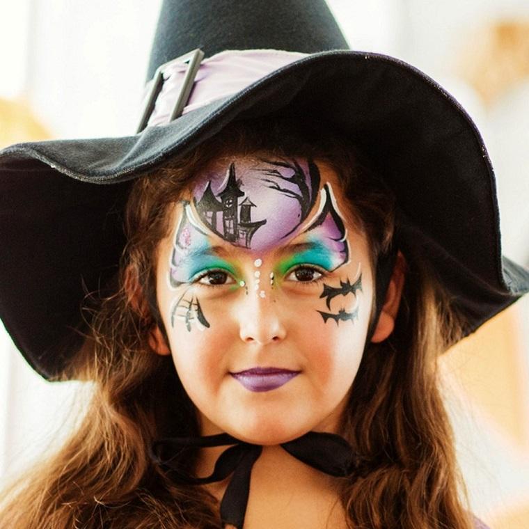 Bimba travestita da strega, trucco da strega, cappello per Halloween da strega