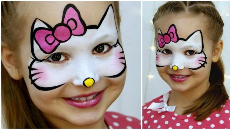 Bimba truccata da Hello Kitty, ragazzina con treccine, travestimento bimba per Halloween