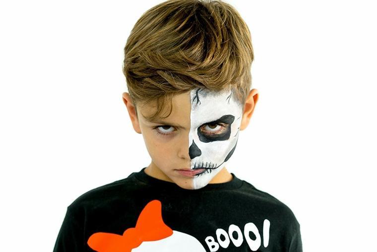 Trucco metà viso, trucchi per Halloween facili, bimbo truccato da scheletro
