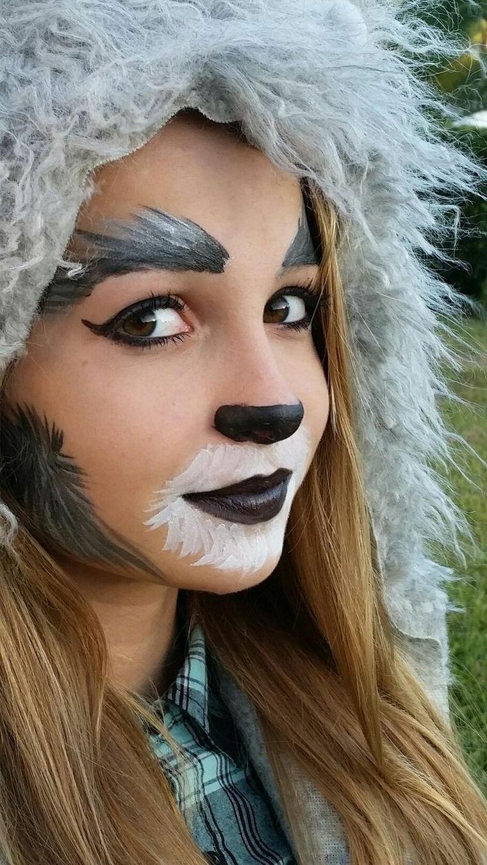 Trucco Halloween bambina, disegno sul viso, cappello con pelliccia