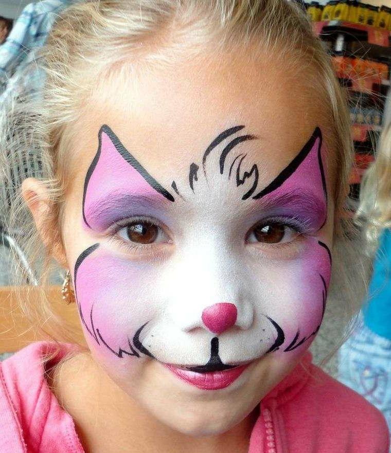 Travestimento bimba da gattino, trucchi per Halloween facili, bimba con disegno sul viso