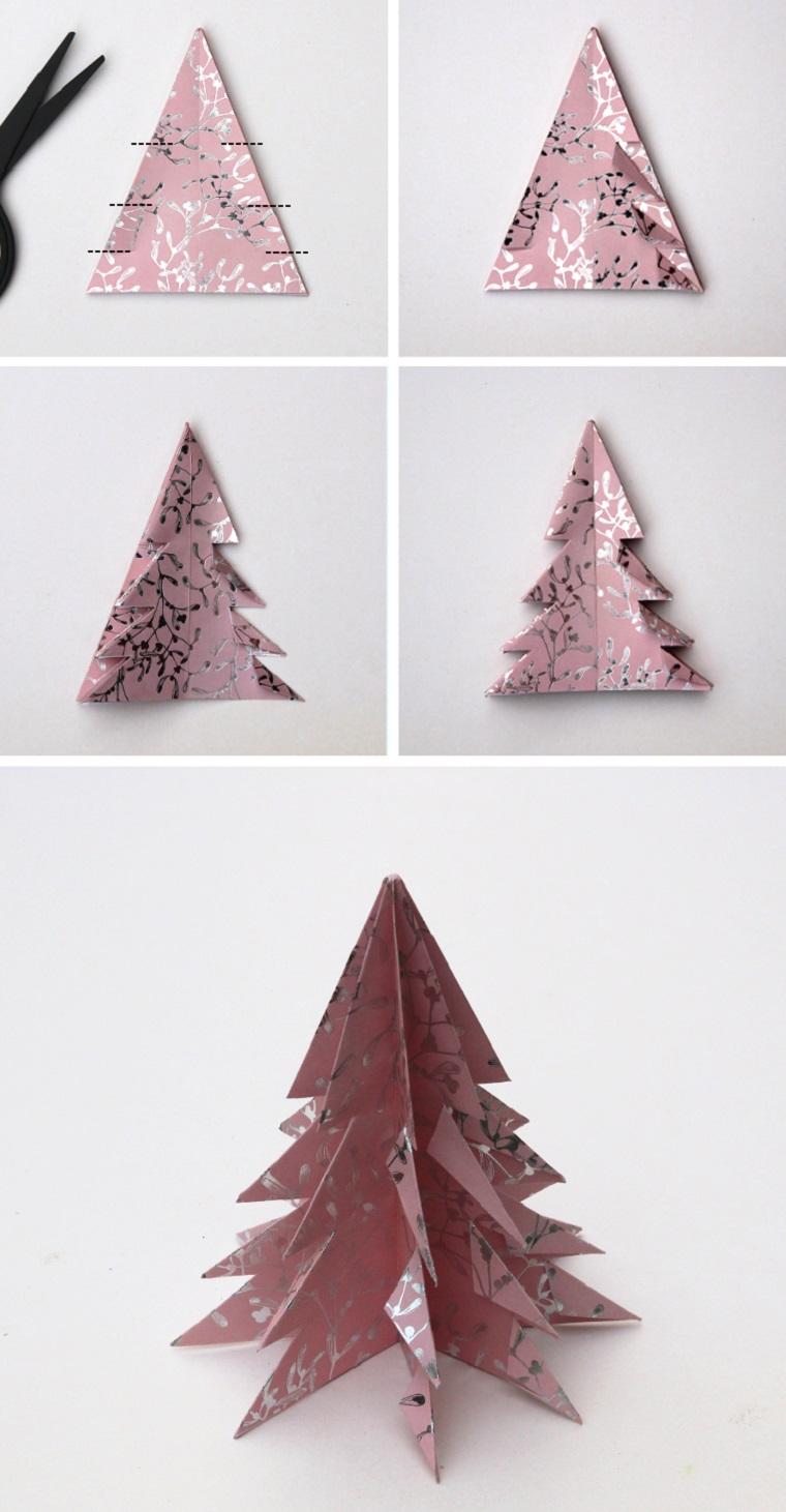 Alberi di Natale originali, alberello di carta, origami con carta da regalo, cartoncino di colore rosa