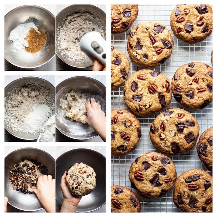 Biscotti colazione leggeri, ciotola con ingredienti, biscotti con pezzettini di cioccolato