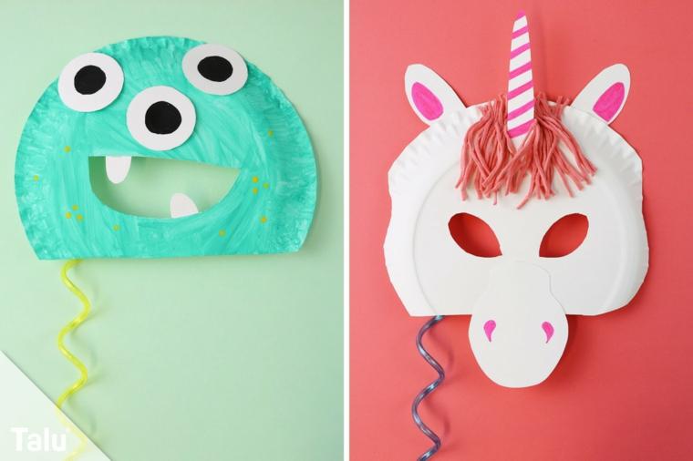 Maschera unicorno, maschere di carnevale da stampare, maschera con piatti di carta