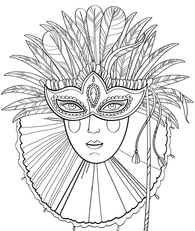 Immagini maschere di carnevale, camuffamento da colorare, maschera con piume
