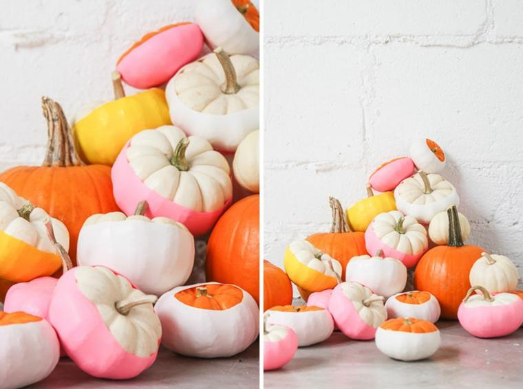 Decorazioni semplici per Halloween, tessuti colorati per zucche, addobbi fai da te