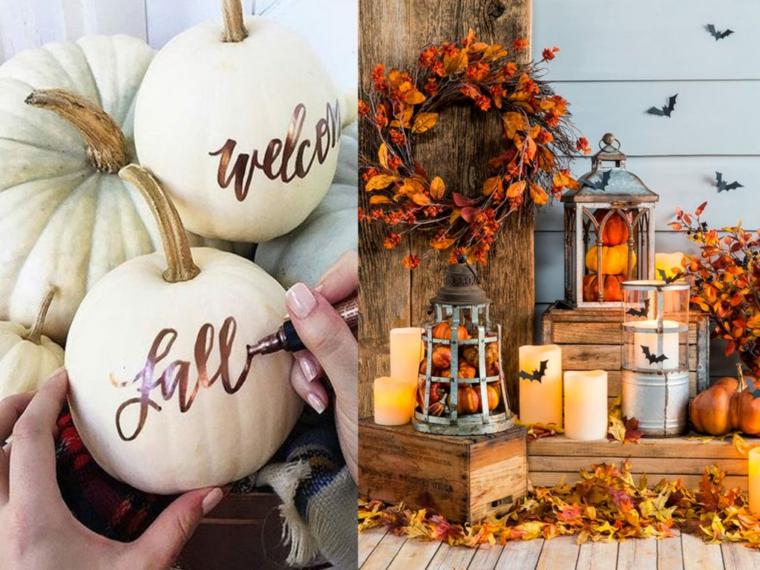 Zucca dipinta, decorazioni autunno con candele, addobbi di Halloween
