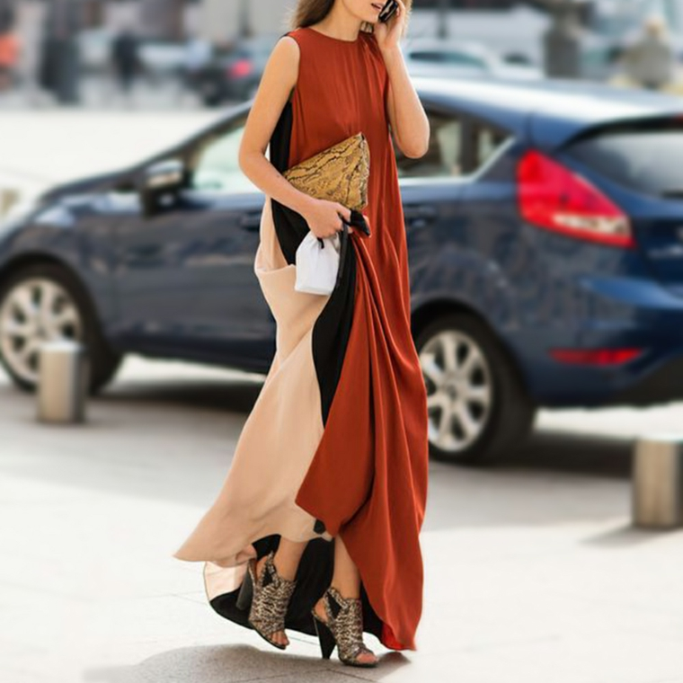 Vestito largo multicolore, abiti eleganti per signora, maxi abito senza manica
