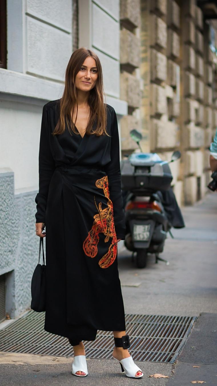 Vestiti lunghi eleganti economici, abito nero con print, abito a fascia, cintura sulla caviglia