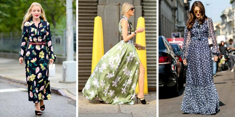 Abiti floreali fluidi, vestiti con cintura, vestiti eleganti da sera estivi, donne che camminano