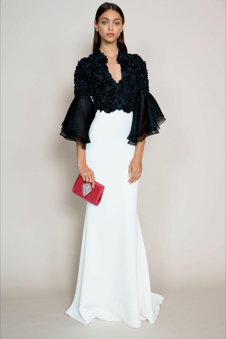 Abito da sera bicolore, vestito bianco e nero, top con volanti in tulle, gonna tubino bianca