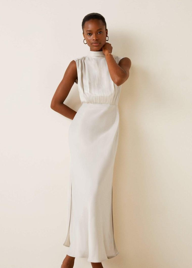 Vestito bianco smanicato, abito stretto da sera, vestito di colore bianco con spacco laterale