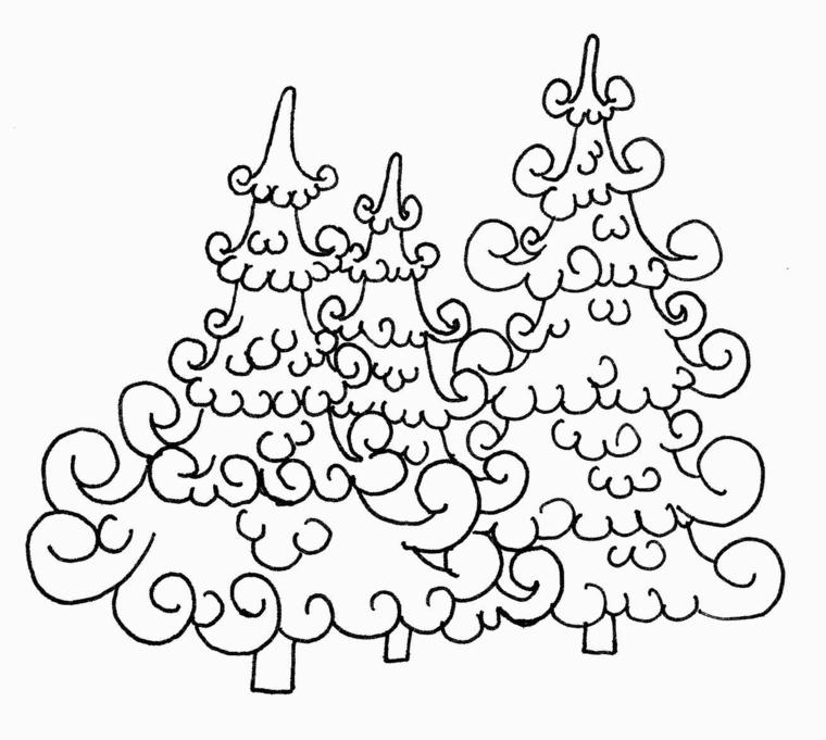 Immagini natalizie da colorare, alberi con ornamenti, schizzo natalizio da colorare