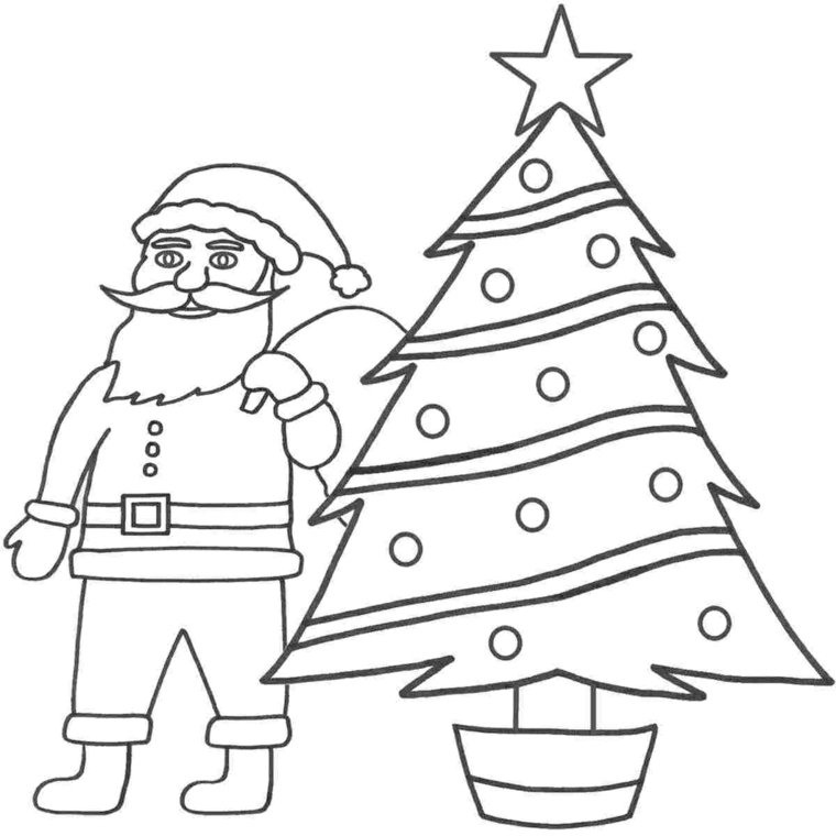 Disegni di Natale da ritagliare, disegno di Babbo Natale, colorare un albero natalizio
