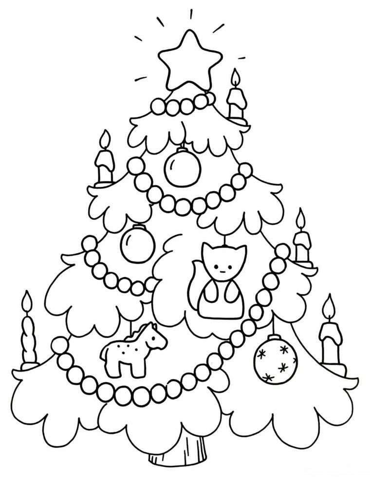 Disegni da ricopiare facili, disegno di un albero, schizzo da colorare, albero natalizio con addobbi