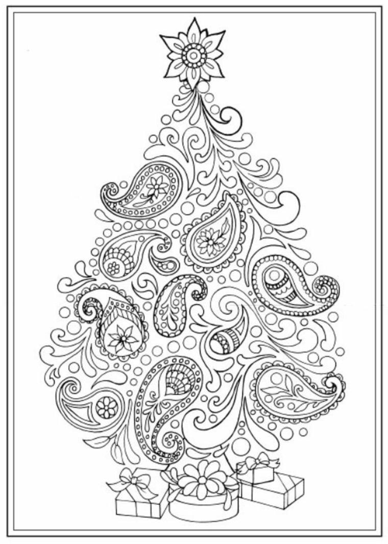 Disegni di natale da ritagliare, albero con motivi mandala, motivi mandala da colorare