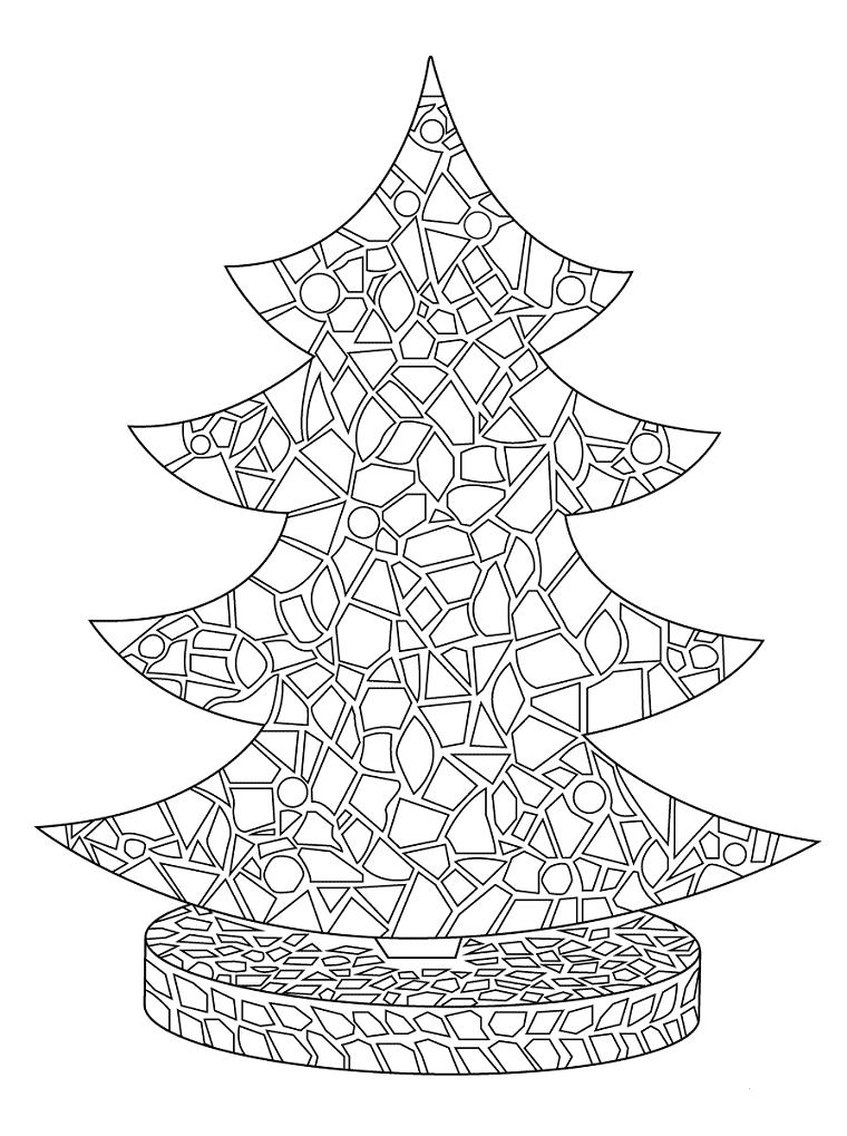 Albero natalizio con figure geometriche, disegno da colorare, immagini natalizie da colorare