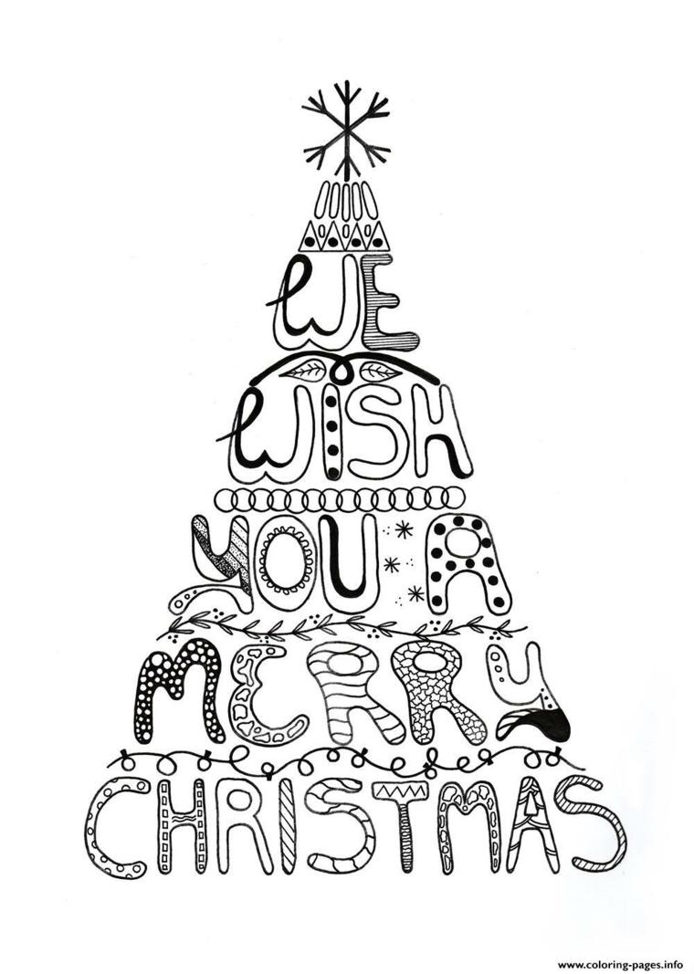 Disegni natalizi da colorare, albero di Natale con scritte, albero con fiocco di neve in cima