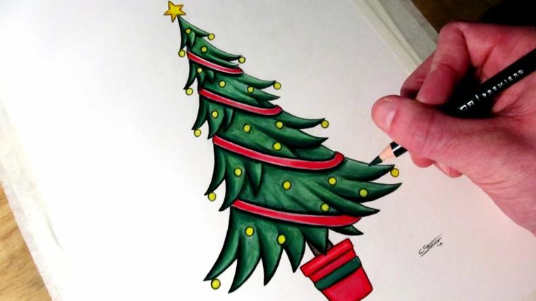 Disegni di Natale facili da disegnare, albero colorato di verde, palline gialle, colorare con matita
