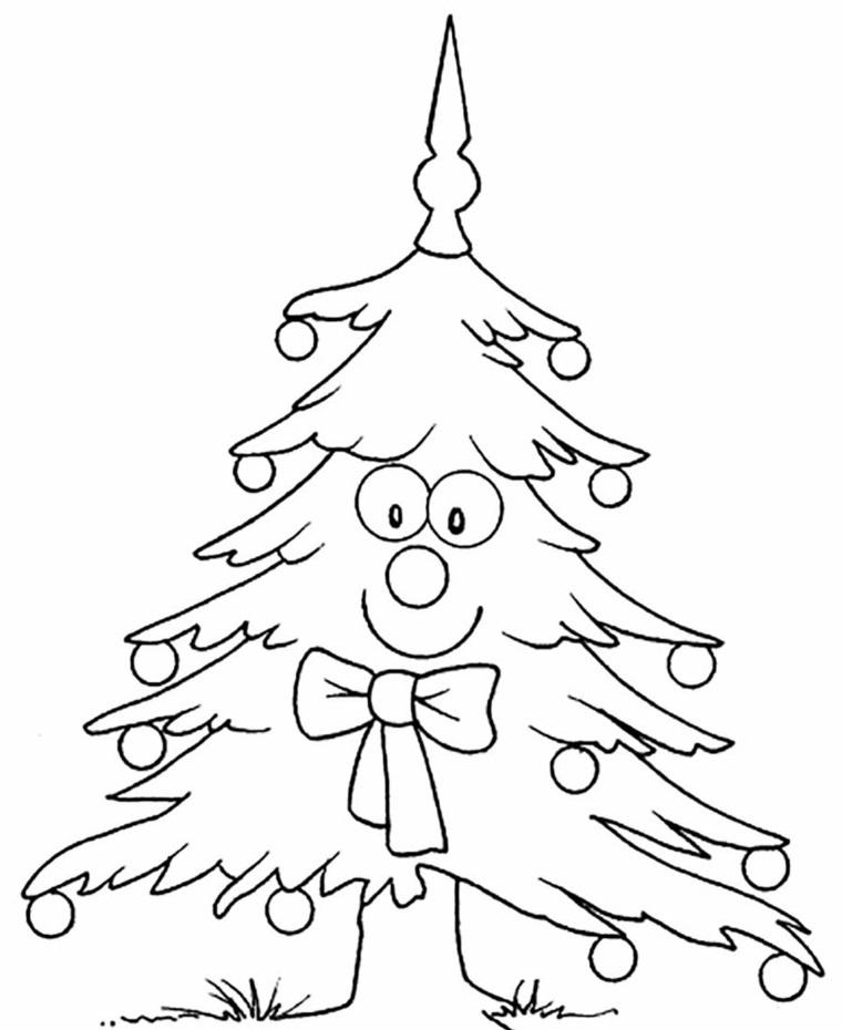 Disegno kawaii con faccina, albero con ornamenti, immagini natalizie da colorare