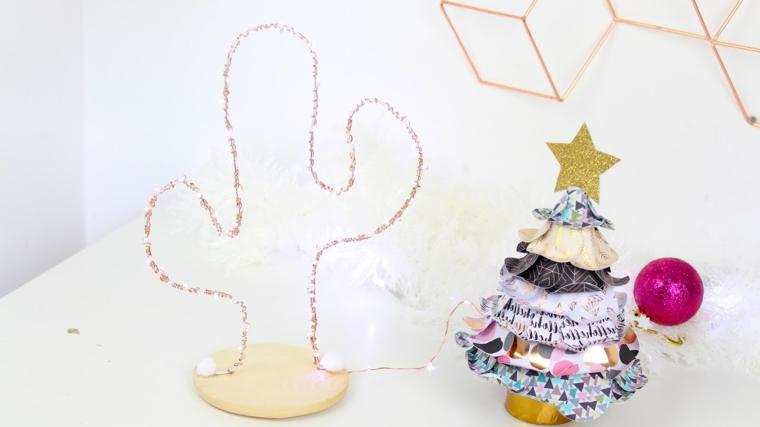 Idee regalo Natale per lei, portagioie con filo luminoso, alberello di stoffa, pallina fucsia glitter