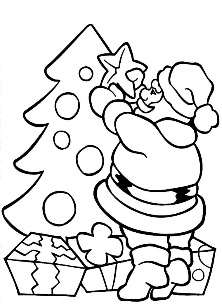 Disegni natalizi da colorare, disegno di Babbo Natale, albero con palline, pacchi regalo