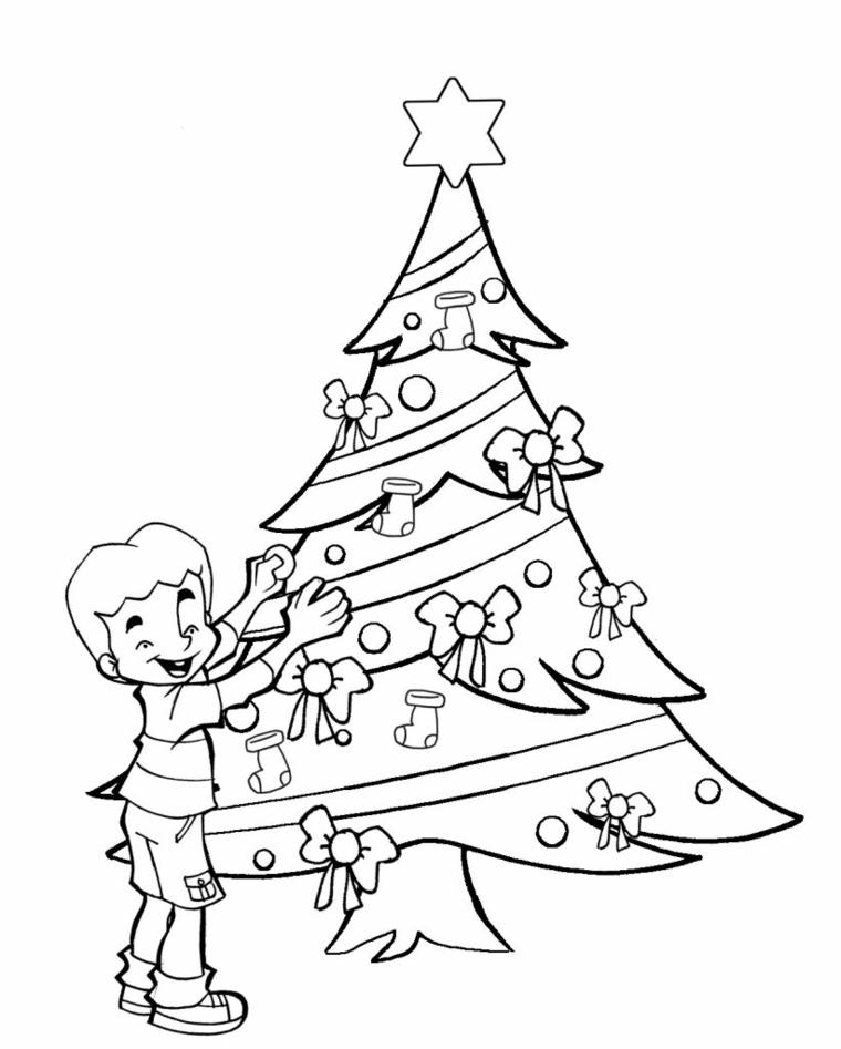 Disegni natalizi da colorare, albero con ghirlande e fiocco, bambino che addobba
