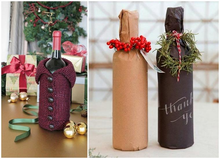 Bottiglie di vino decorate, sacchettino di lana per bottiglia, regali originali per lui